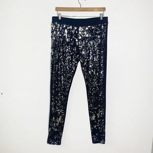 Nordstrom Black Sequin Front Pull On Stretch Leggings Women's Size X-Large XL